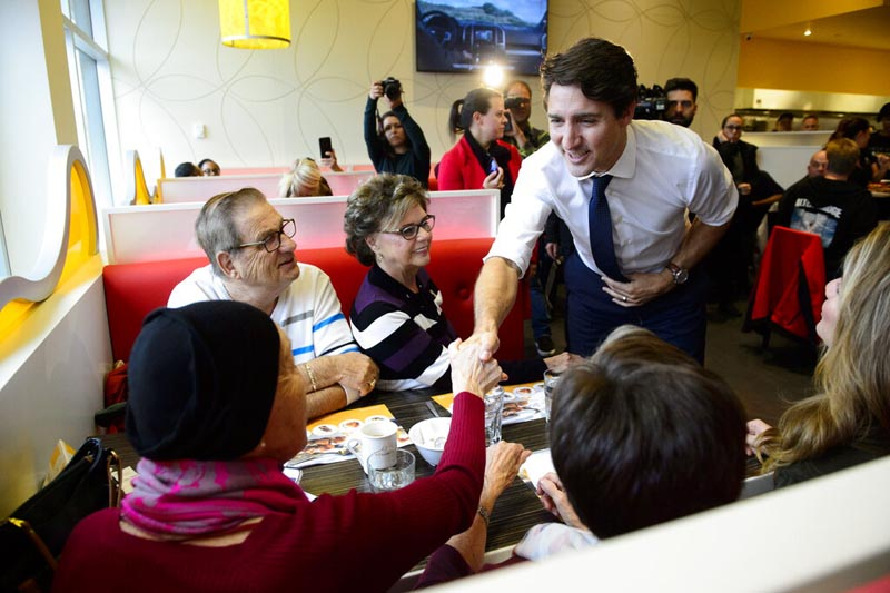 Liberal leader Justin Trudeau makes a campaign stop in Terrebonne, Quebec on Thursday October 17, 2019. Photo: AP