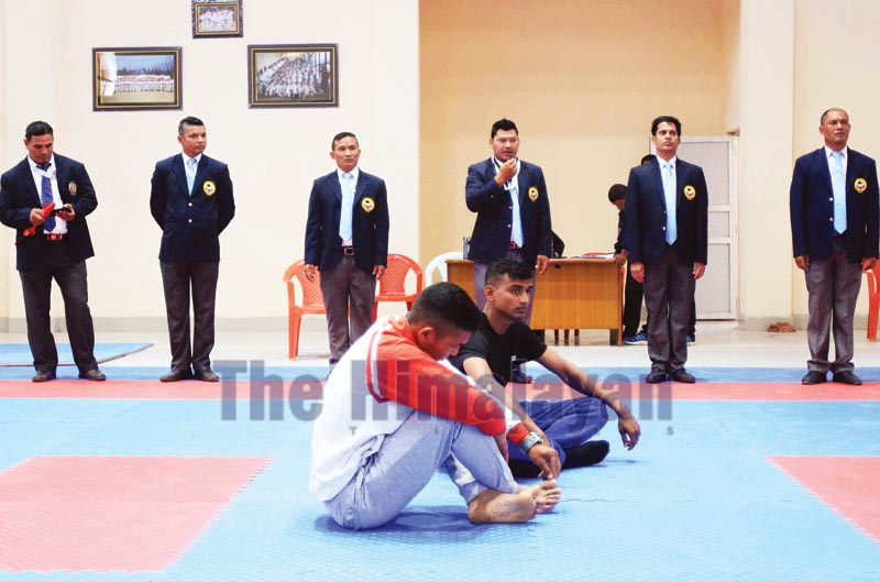 Karatekas staging a protest demanding their inclusion in the selection tournament for the 13th South Asian Games at the International Sports Complex in Lalitpur on Tuesday, October 1, 2019. Photo: THT