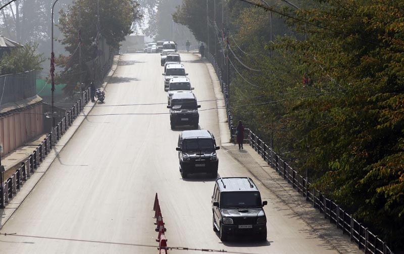 A convoy of vehicles carrying European Union lawmakers is seen after they arrived in Srinagar October 29, 2019. Photo: Reuters