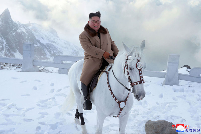 In this undated photo provided on Wednesday, October 16, 2019, by the North Korean government, North Korean leader Kim Jong Un rides a white horse to climb Mount Paektu, North Korea. Photo: Korean Central News Agency/Korea News Service via AP