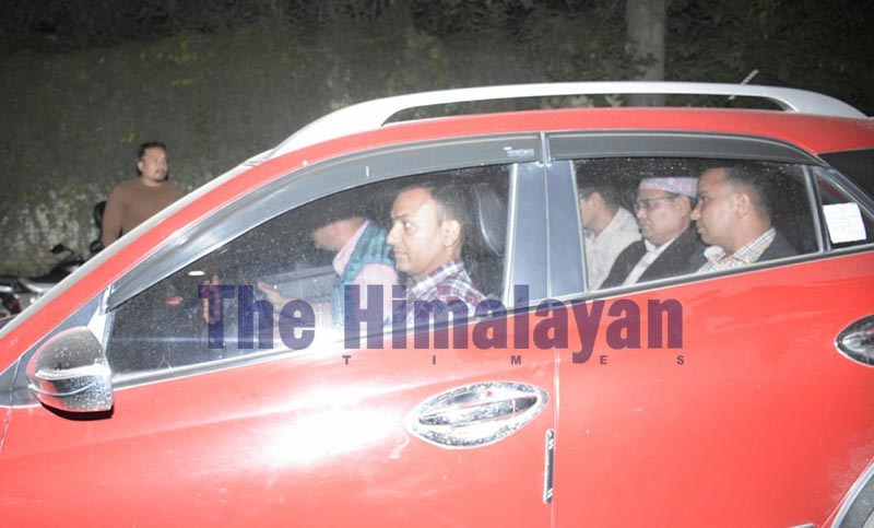 Former Speaker Krishna Bahadur Mahara inside a car being taken to Metropolitan Police Circle, Singha Durbar, on Sunday, October 6, 2019. The Kathmandu District Court issued permission for his arrest following attempt-to-rape charges levelled at him by a Parliament staffer. Photo: Naresh Shrestha/THT