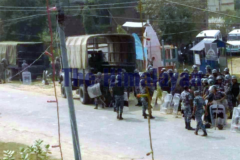 Security personnel are deployed in Krishnanagar area after the incident in the district, on Thursday, October 31, 2019. Photo: Krishna Prasad Dhakal/THT