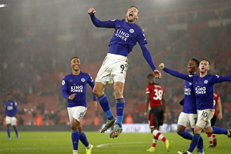 Leicester's Jamie Vardy celebrates scoring his side's ninth goal during the English Premier League soccer match between Southampton and Leicester City at St Mary's stadium in Southampton, England, on Friday, October, 25, 2019. Photo: AP
