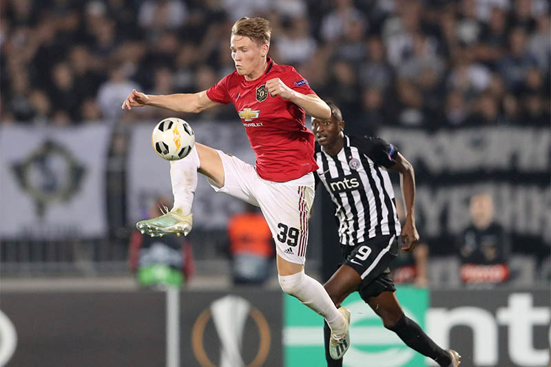Manchester United's Scott McTominay in action with Partizan Belgrade's Umar Sadiq. Photo: Reuters