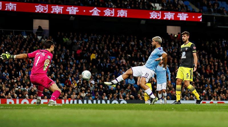 Manchester City's Sergio Aguero scores their third goal during the Carabao Cup Fourth Round match between Manchester City and Southampton, at Etihad Stadium, in Manchester, Britain, on October 29, 2019. Photo: Action Images via Reuters