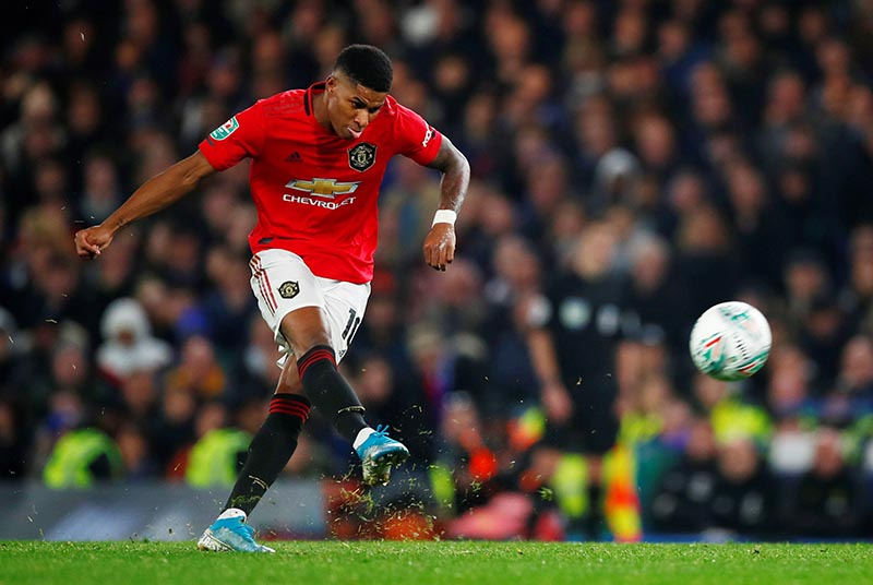 Manchester United's Marcus Rashford scores their second goal during the Carabao Cup  Fourth Round match between Chelsea and Manchester United, at Stamford Bridge, in London, Britain, on October 30, 2019. Photo: Reuters