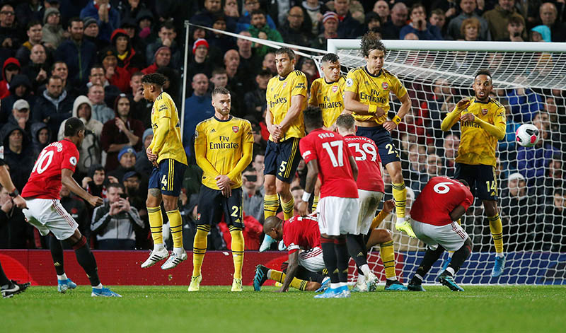 Manchester United's Marcus Rashford takes a free kick during the Premier League match between Manchester United and Arsenal, at Old Trafford, in Manchester, Britain, on September 30, 2019. Photo: Reuters