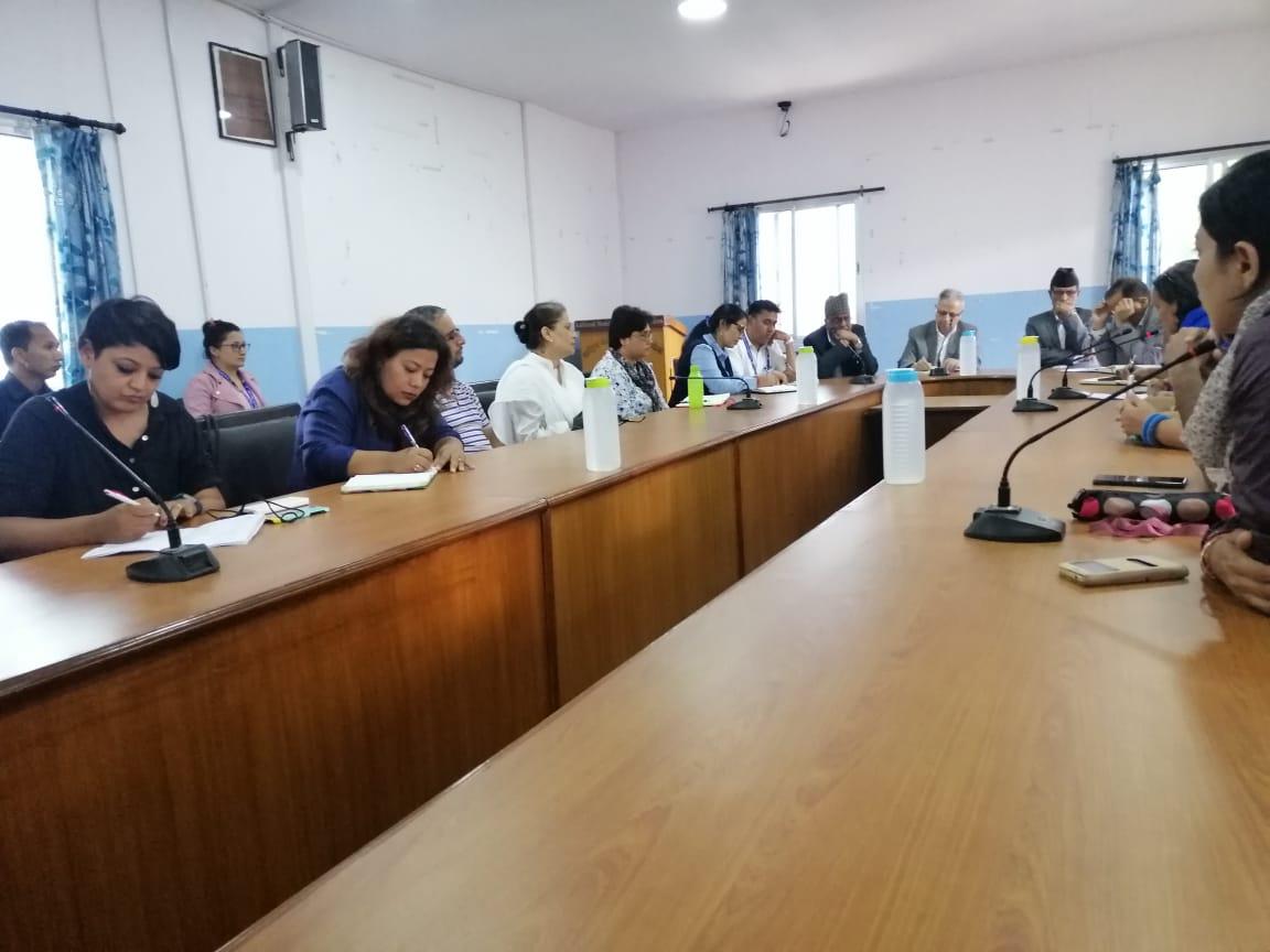 People gather at the National Human Rights Commission (NHRC) demanding fair investigation into the Krishna Bahadur Mahara rape case, at NHRC, Kathmandu, on Friday, October 4, 2019. Photo: Ankit Khadgi/THT