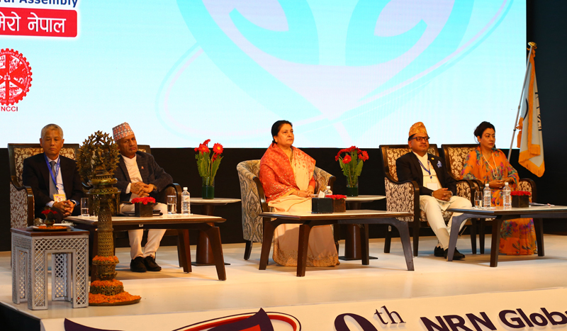 President Bidya Devi Bhandari attending the Ninth Non-Resident Nepali Association (NRNA) Global Conference as the Chief guest on Tuesday. October 15, 2019. Photo: RSS
