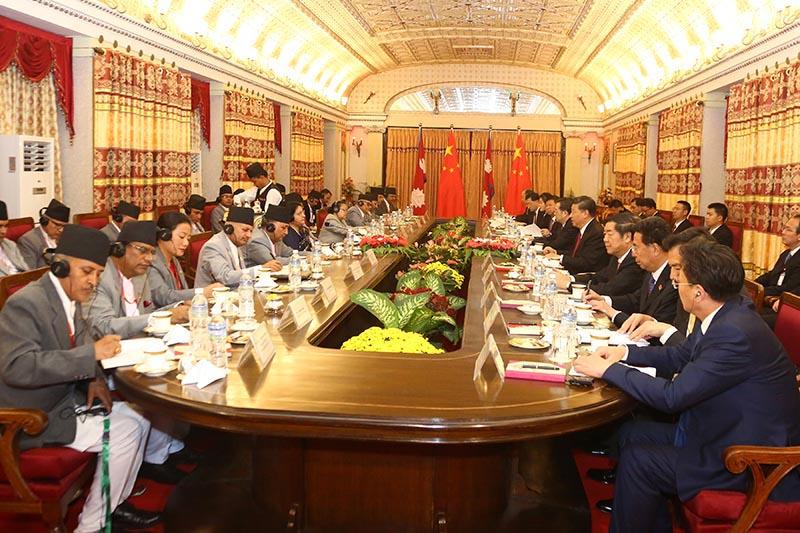 President Bidya Devi Bhandari and her visiting Chinese counterpart Xi Jinping attend bilateral talks at Rastrapati Bhavan in Sheetal Niwas, in Kathmandu, on Saturday, October 12, 2019. Photo: RSS