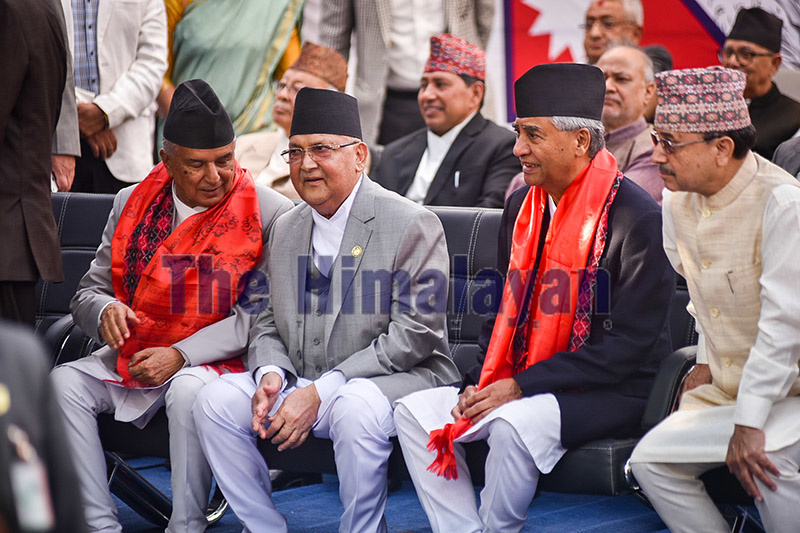 Prime Minister KP Sharma Oli attending a tea party organised by the Nepali Congress,u00a0u00a0in Sanepa, Lalitpur, on Sunday. Photo: Naresh Shrestha/ THT