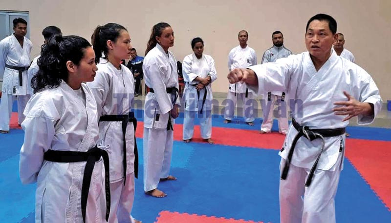 The file photo shows Nepali karate players attending a training session. Photo: THT