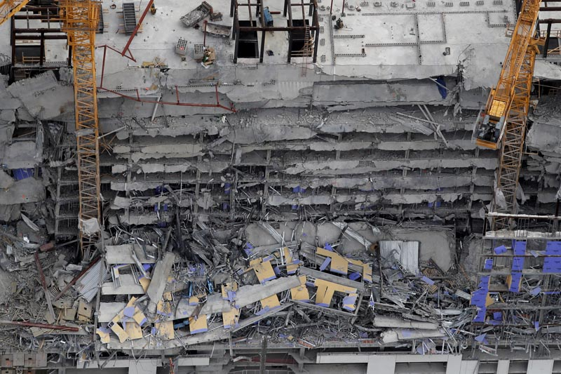 This aerial photo shows the Hard Rock Hotel, which was under construction, after a fatal partial collapse in New Orleans, Saturday, October 12, 2019. Photo: AP