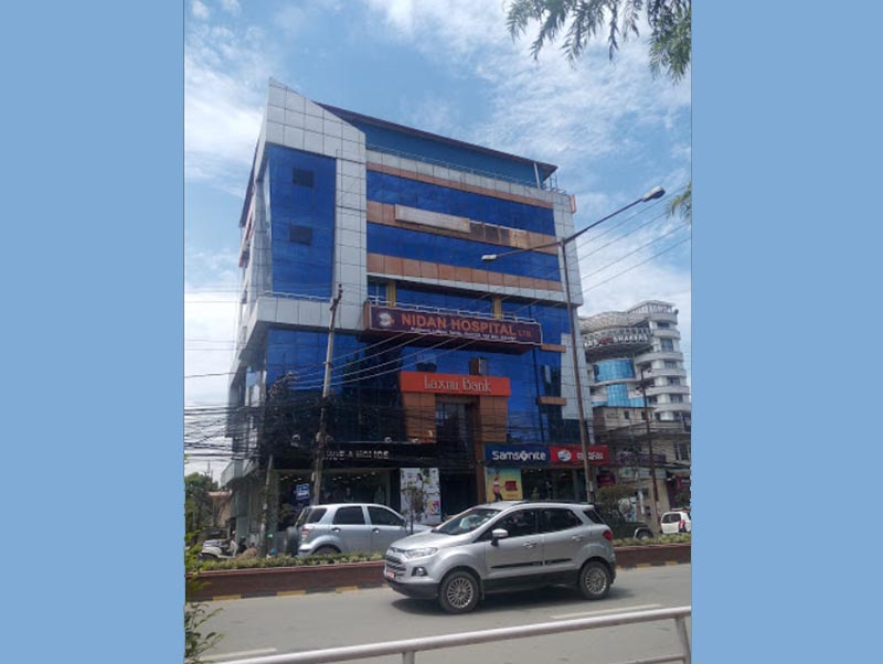 Vehicles passing by in front of Nidan Hospital in Pulchowk, Lalitpur, in August, 2019. Photo courtesy: Manoj Dhodari via Google Maps integration