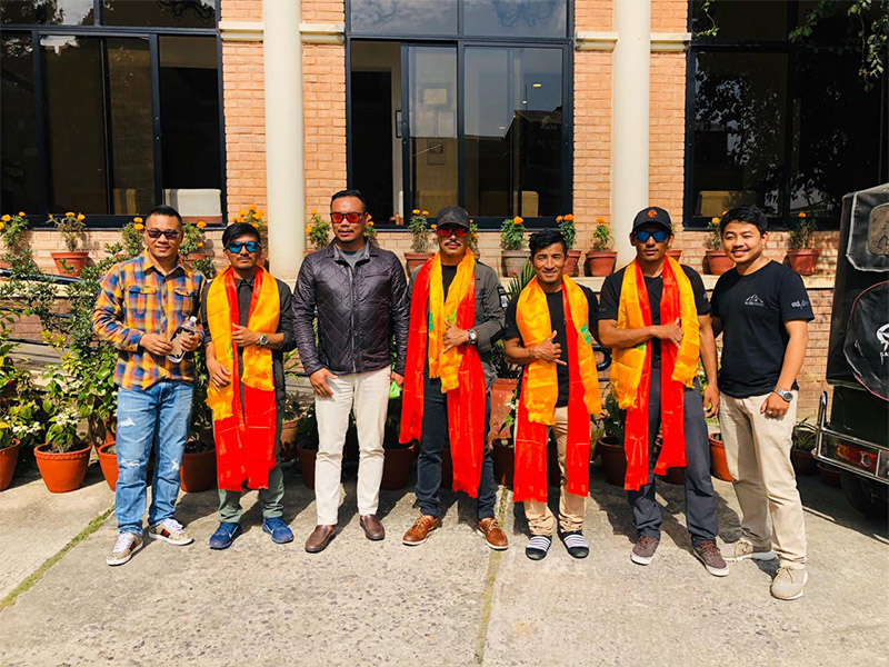 Purja-led team along with his supporters in Kathmandu before leaving for Tibet. Photo Mingma David Sherpa