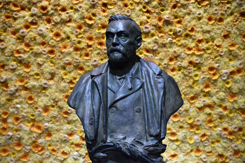 A bust of the Nobel Prize founder, Alfred Nobel on display at the Concert Hall during the Nobel Prize award ceremony in Stockholm, Monday, Dec 10, 2018. Photo: Henrik Montgomery/Pool Photo via AP/File