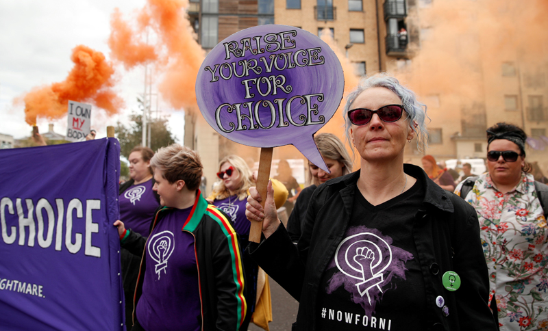 FILE PHOTO: Pro-choice demonstrators take part in a march in Belfast, Northern Ireland September 7, 2019. Photo: Reuters