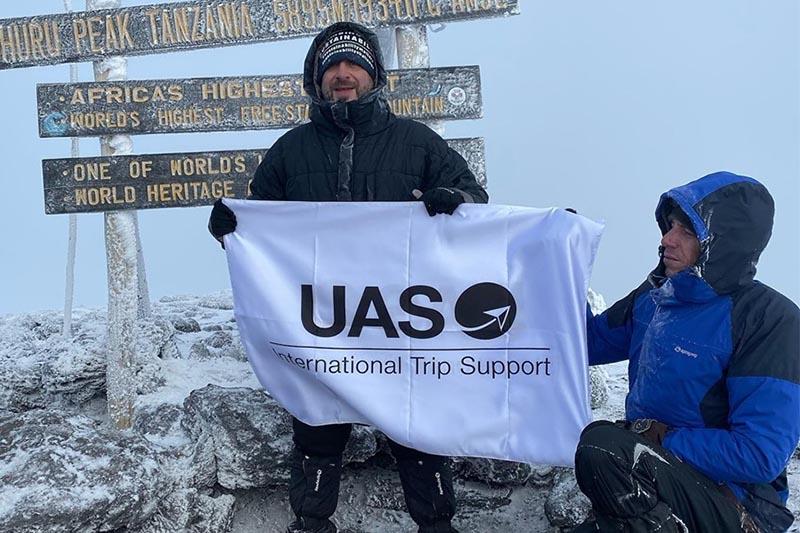 Omar Hosari (left) on top of Mt Kilimanjaro. Courtesy: Hosari/facebook
