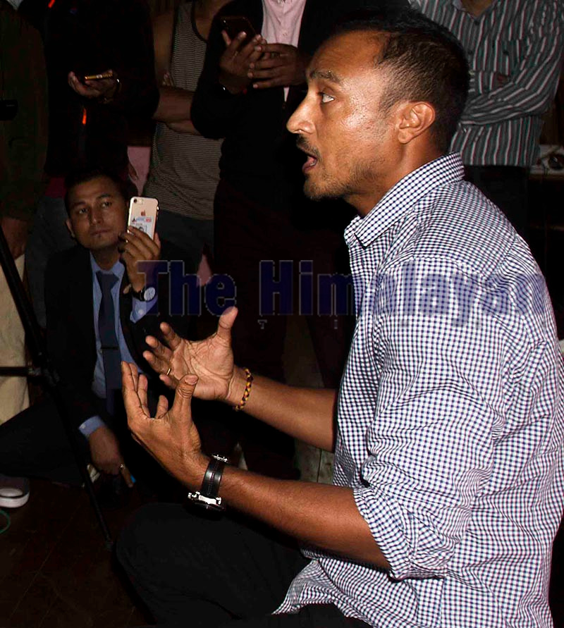 Paras Khadka talking to mediapersons after announcing his resignation from the captainship of Nepal cricket team, in Kathmandu, on Tuesday. Photo: Udipt Singh Chhetry / THT