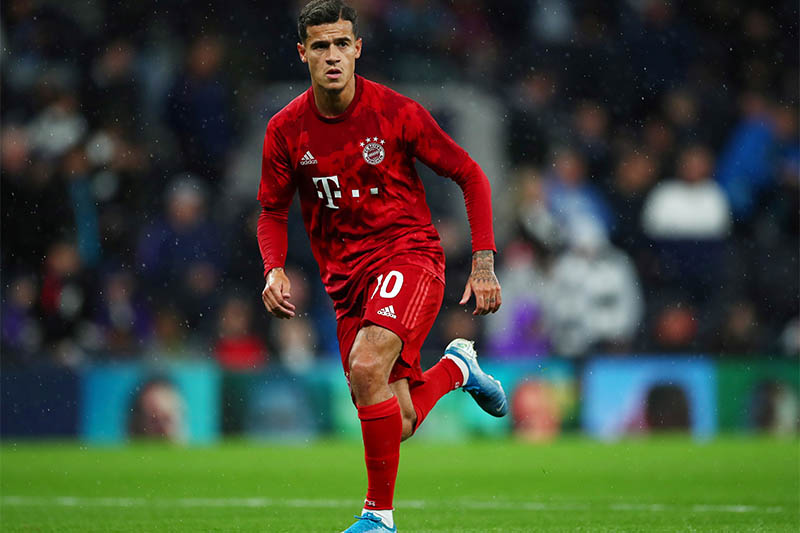 Bayern Munich's Philippe Coutinho during the warmup before the match. Photo: Reuters
