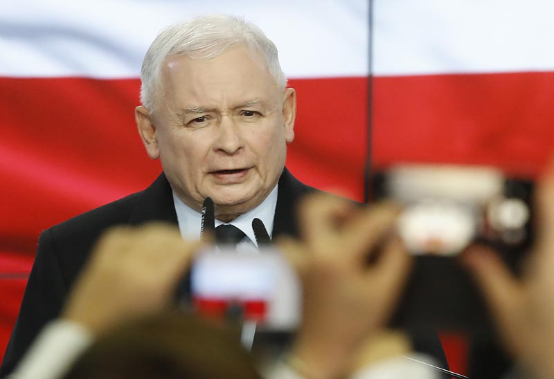 Leader of Poland's ruling party Jaroslaw Kaczynski speaks in reaction to exit poll results right after voting closed in the nation's parliamentary election that is seen crucial for the nation's course in the next four years, in Warsaw, Poland, on Sunday, Oct 13, 2019. Photo: AP
