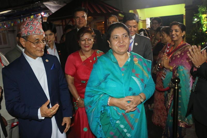 The Nepali Embassy welcomes visiting Nepli President Bidya Devi Bhandari, in Yangon, Myanmar, on Saturday, October 18, 2019. The president leading a Nepali delegation is on five-day state visit to Myanmar: Photo: RSS