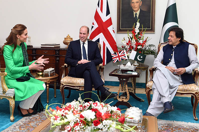 Britain's Prince William and Catherine, Duchess of Cambridge attend a meeting with Pakistan's Prime Minister Imran Khan in Islamabad, Pakistan, October 15, 2019. Photo: Reuters