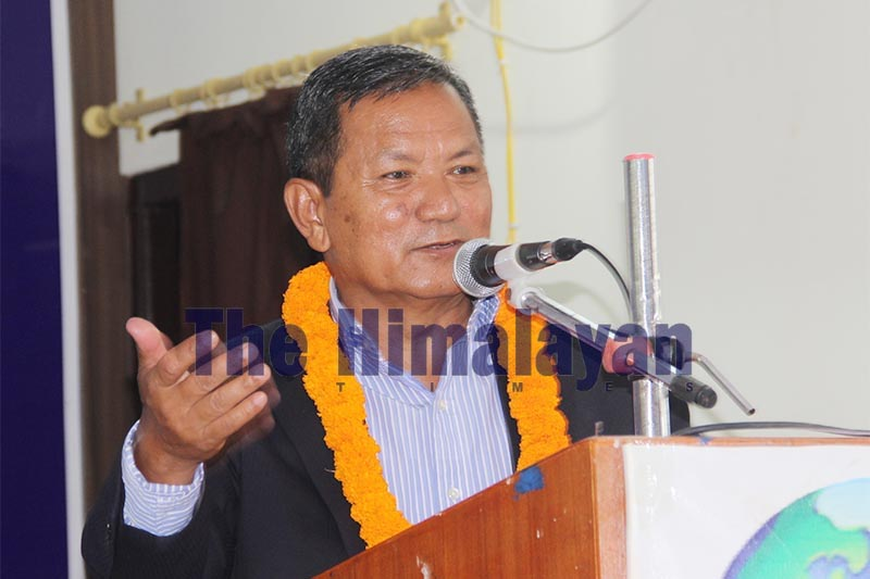 Chief Minister Prithvi Subba Gurung speaking at a tea reception programme, in Pokhara, on Sunday, October 20, 2019. Photo: THT