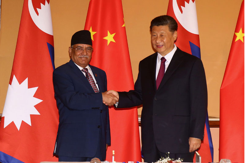 Co-chair of Nepal Communist party (NCP) Puspa Kamal Dahal meets with Chinese President Xi Jinping at Soaltee Crowne Plaza on Sunday, October 13, 2019. Photo: RSS