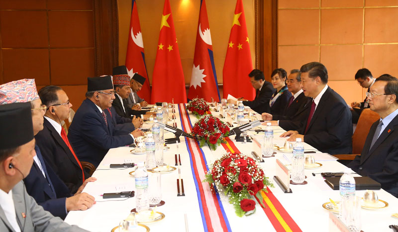 Chinese President Xi Jinping holds meeting with senior Nepal Communist Party (NCP) leaders at Soaltee Crowne Plaza on Sunday, October 13, 2019. Photo: RSS