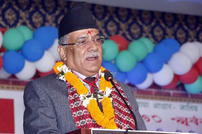 Chairperson of Nepal Communist Party Pushpa Kamal Dahal addressing at an event organised by Newa Mukti Morcha Nepal in Madhyapur of Bhaktapur on Sunday, October 27, 2019.