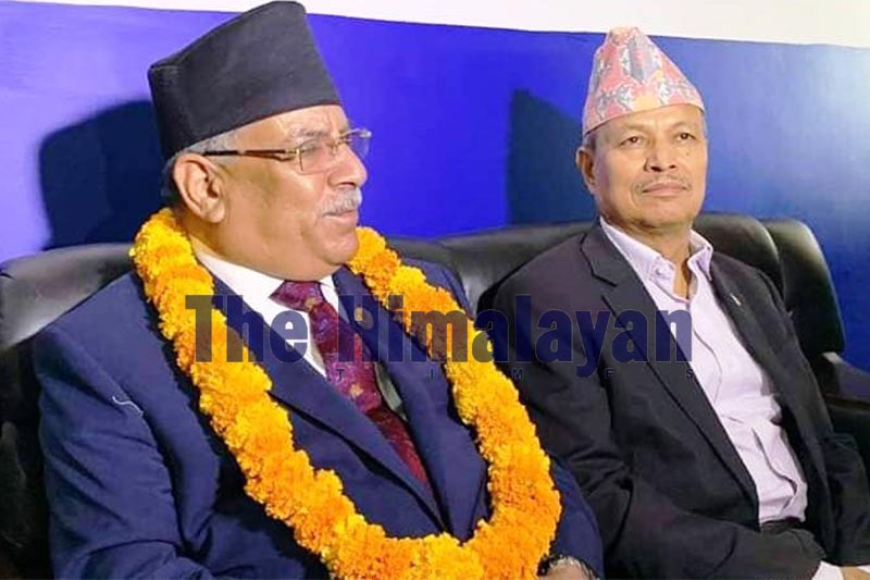 Nepal Communist Party (NCP) Co-chair Pushpa Kamal Dahal and Sudurpaschim Province In-charge for the party Bhim Rawal (right) participate in the inaugural of the training session held for local representatives in Sudurpashchim Province, in Dhangadhi, Kailali district, on Friday, October 17, 2019. Photo: Tekendra Deuba/THT