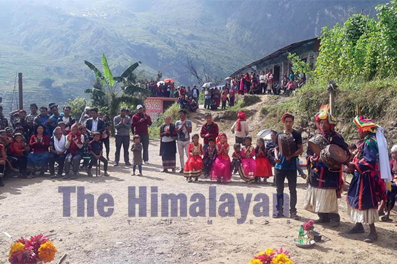 Locals celebrate after inaugration of Bumtakhola Laghubitta Hydro Plant at Kapor Gaun of Rubyvalley Rural Municipality-1 in Dhading district, on Tuesday, October 15, 2019. Photo: Keshav Adhikari/THT