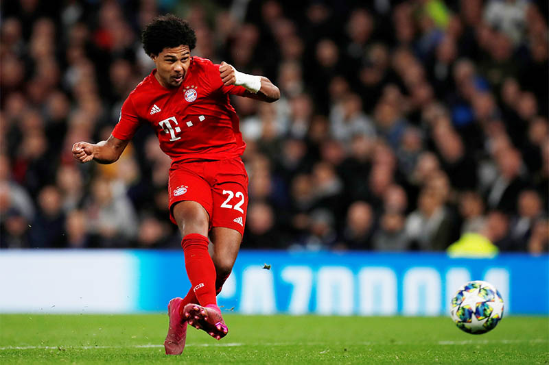 Bayern Munich's Serge Gnabry scores their fifth goal to complete his hat-trick. Photo: Reuters