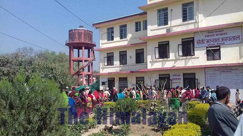 Patients queuing up to get OPD tickets for health check-up in Dhangadi-based Seti Zonal Hospital, in Kailali, on Tuesday, October 22, 2019. Photo: THT