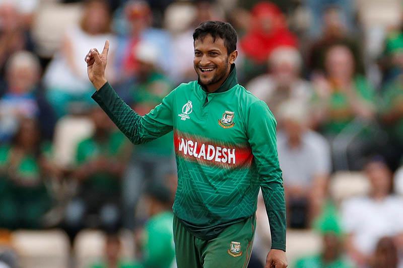 FILE PHOTO: Bangladesh's Shakib Al Hasan celebrates taking a wicket. Photo: Reuters