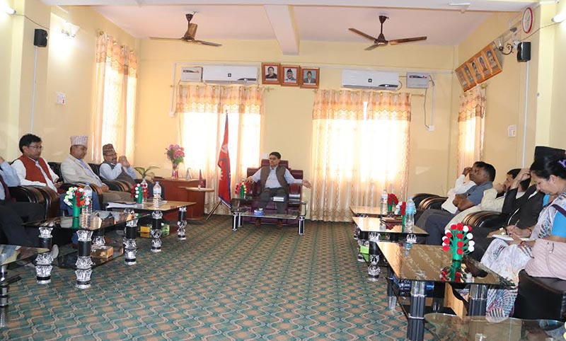 Local representatives holding a meeting with Chief Minister Trilochan Bhatta of Sudurpaschim Province on management of stray cattle of Kailali and Kanchanpur, in Dhangadi, on Wednesday, October 23, 2019. Photo: THT