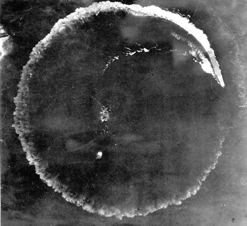 An aerial photo of a Japanese carrier maneuvering in a complete circle in an effort to escape in the Midway Islands, Hawaii. After the battle, the Army reported repeated bomb hits on the enemy carriers Kaga and Akagi, while the Navy, in listing results, said four enemy carriers were definitely sunk. Photo: AP/File