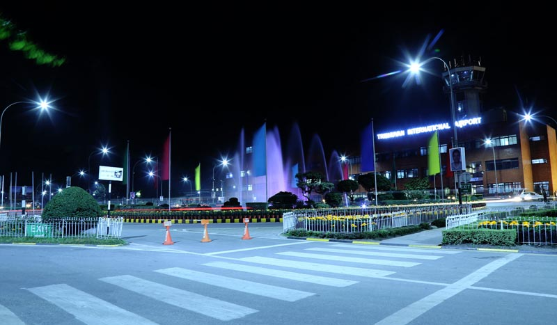 Tribhuvan International Airport decorated for welcoming Chinese President Xi Jinping, as seen on Friday evening, October 11, 2019. Photo: RSS