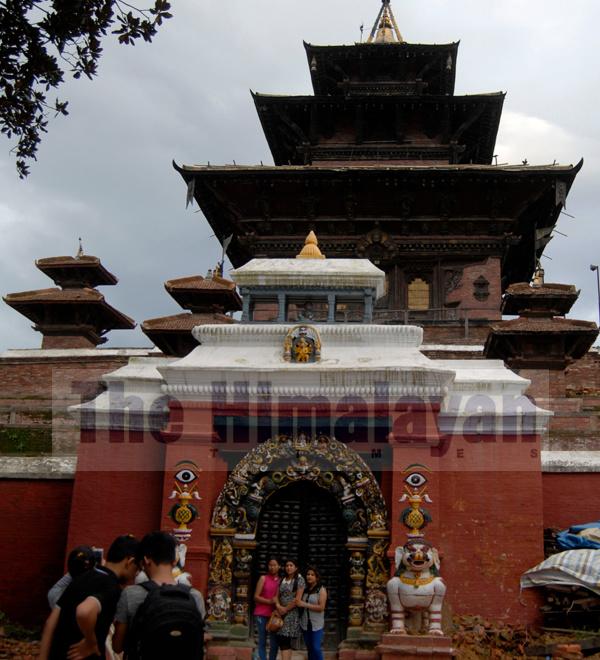 Visitors taking pictures in front of Taleju Temple, in Hanumandhoka, Kathmandu, on Friday. nPhoto: Balkrishna Thapa Chhetri/THT