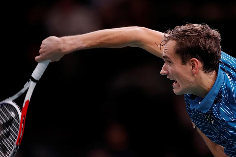 Russia's Daniil Medvedev in action during his second round match against France's Jeremy Chardy at ATP 1000, Paris Masters, at AccorHotels Arena, in Paris, France, on October 29, 2019. Photo: Reuters