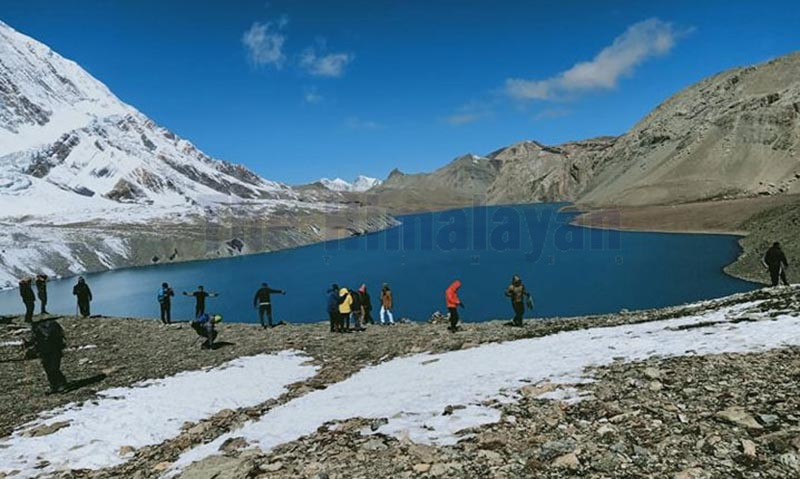 Tourists observing Tilicho lake in Nesyang Rural Municipality-9, Manang, on Wednesday. Photo: THT