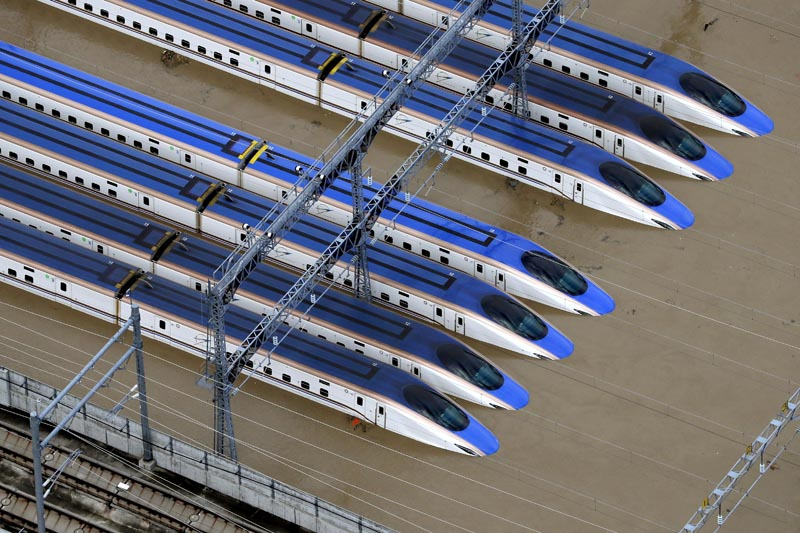 A Shinkansen bullet train rail yard is seen flooded due to heavy rains caused by Typhoon Hagibis in  Nagano, central Japan, October 13, 2019, in this photo taken by Kyodo. Photo: Kyodo/via Reuters