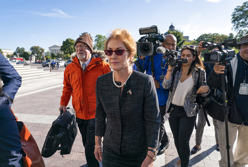 Former US ambassador to Ukraine, Marie Yovanovitch, arrives in Capitol Hill, Washington, on Friday, October 11, 2019, as she is scheduled to testify before congressional lawmakers on Friday as part of the House impeachment inquiry into President Donald Trump. Photo: AP Photo