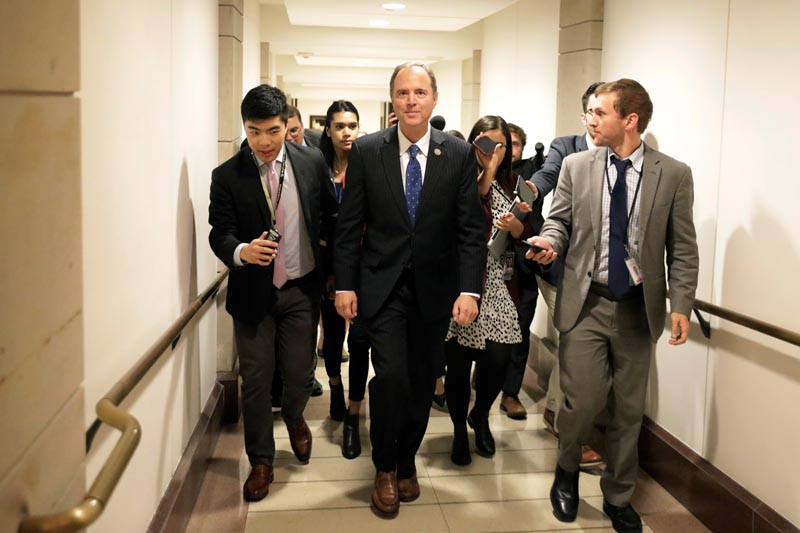 Congressman Adam Schiff (D-CA) leaves after a closed-door deposition from Deputy Assistant Secretary of Defence Laura Cooper as part of the US House of Representatives impeachment inquiry into US President Donald Trump on Capitol Hill in Washington, US, October 23, 2019.  Photo: Reuters