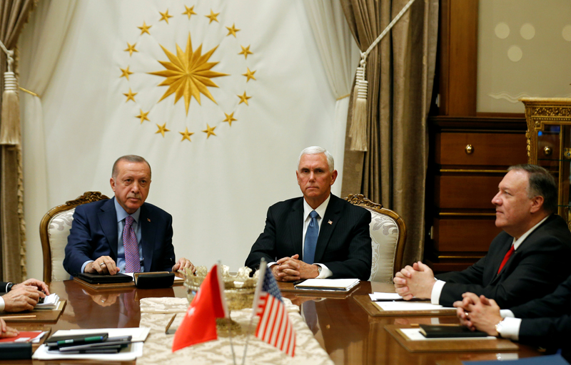 US Vice President Mike Pence and Secretary of State Mike Pompeo meet with Turkish President Tayyip Erdogan at the Presidential Palace in Ankara, Turkey, October 17, 2019. Photo: Reuters