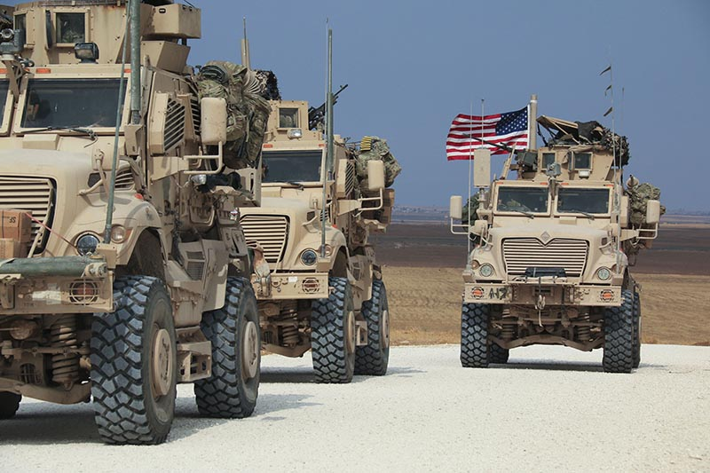American military convoy stops near the town of Tel Tamr, north Syria, Sunday, Oct. 20, 2019. Photo: AP
