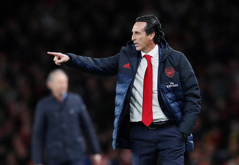 Arsenal manager Unai Emery gestures during the football match between Arsenal and Standard Liege in  Europa League, Group F, at Emirates Stadium, London, Britain, on October 3, 2019. Photo: Reuters