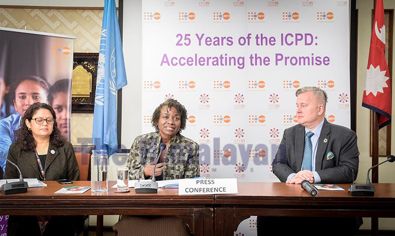 United Nations Under-Secretary-General and Executive Director of United Nations Population Fund Natalia Kanem speaking to mediapersons in Kathmandu, on Monday. Photo: THT