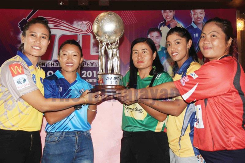 (From left) Marquee players and skippers Rubina Chhetri (Kat Queens Kathmandu), Sarita Magar (Biratnagar Titans), Sita Rana Magar (Pokhara Paltan), Indu Verma (Chitwan Rhinos) and Nery Thapa (Lalitpur Falcons) hold the WCL trophy in Kathmandu on Tuesday. Photo: THT